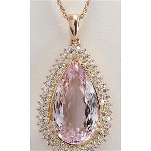 38.92 CTW Natural Kunzite And Diamond Pendant In 18K