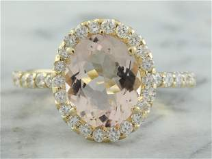 3.01 CTW Morganite 14K yellow Gold Diamond Ring