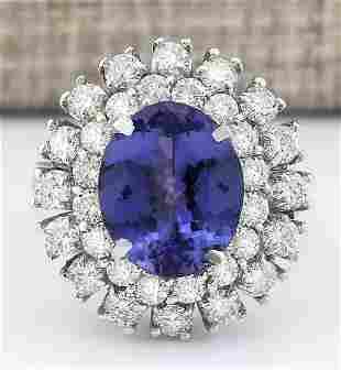 8.89 CTW Natural Blue Tanzanite And Diamond Ring 18K