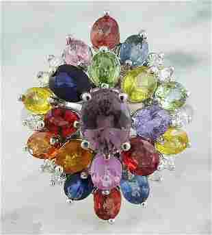 6.60 CTW Sapphire 14K White Gold Diamond Ring
