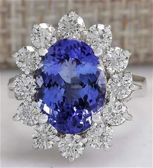 5.98 CTW Natural Blue Tanzanite And Diamond Ring 18K
