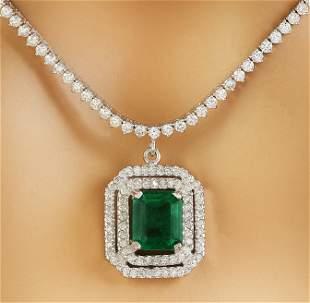 10.50 CTW Emerald 18K White Gold Diamond Necklace