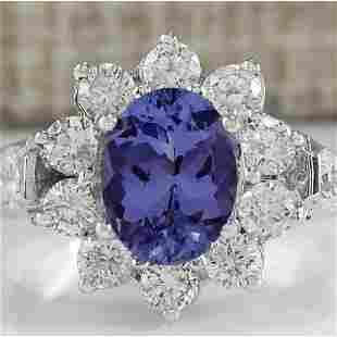 3.16 CTW Natural Tanzanite And Diamond Ring 14K Solid