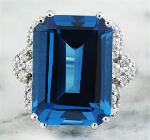 20.40 CTW Topaz 18K White Gold Diamond Ring