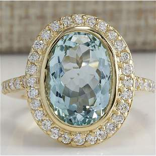 6.35 CTW Natural Aquamarine And Diamond Ring In 14K