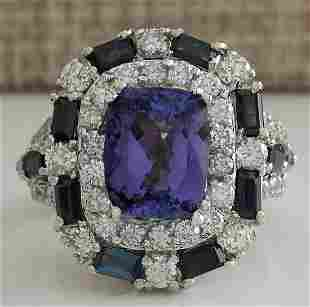 6.90 CTW Natural Tanzanite Sapphire And Diamond Ring In