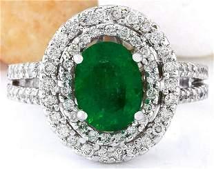 1.73 CTW Natural Emerald 18K Solid White Gold Diamond