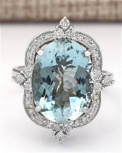8.22 CTW Natural Aquamarine And Diamond Ring In 18K