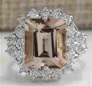 7.04 CTW Natural Morganite And Diamond Ring 18K Solid