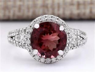 3.60 CTW Natural Burgundy Tourmaline And Diamond Ring