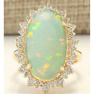 8.09 CTW Natural Opal And Diamond Ring In 14k Yellow