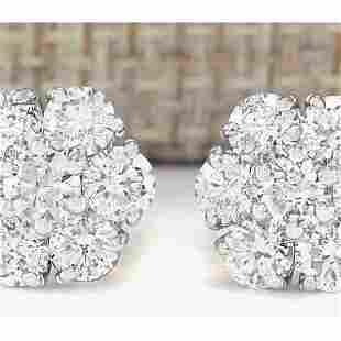 2.30 CTW Natural Diamond Earrings 14k Solid White Gold