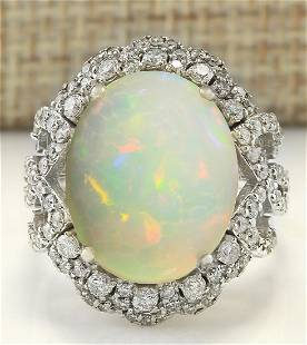 7.24 CTW Natural Opal And Diamond Ring In 14K White