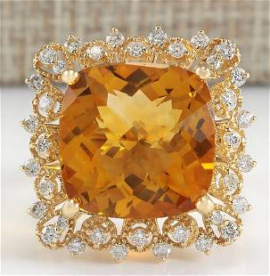 13.50 CTW Natural Citrine And Diamond Ring In 14K
