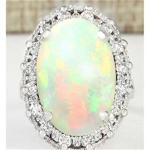 5.54 CTW Natural Opal And Diamond Ring In 18K White