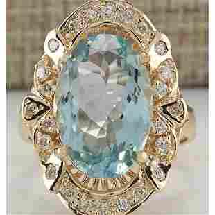 6.43 CTW Natural Blue Aquamarine And Diamond Ring 18K