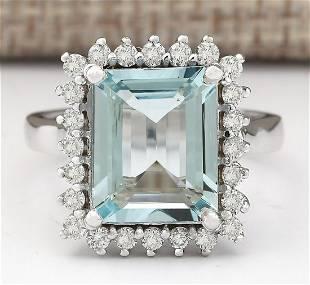 5.15 CTW Natural Aquamarine And Diamond Ring In 14k