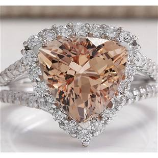 5.27 CTW Natural Peach Morganite And Diamond Ring In