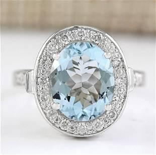 3.95 CTW Natural Aquamarine And Diamond Ring In 18K