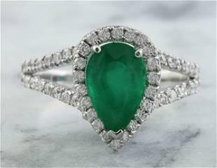 2.65 CTW Emerald 18K White Gold Diamond Ring