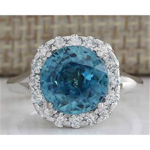7.58 CTW Natural Blue Zircon And Diamond Ring 14K Solid