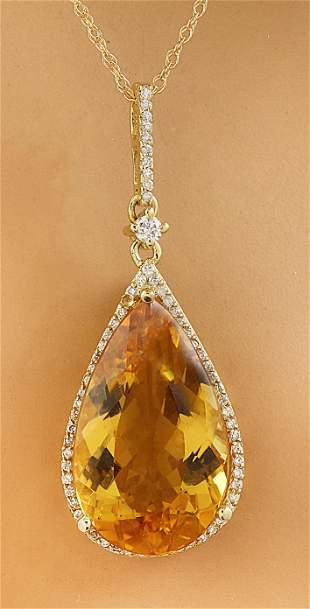 9.70 CTW Citrine 18K Yellow Gold Diamond Necklace