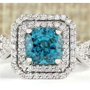 5.46 CTW Natural Blue Zircon And Diamond Ring 18K Solid