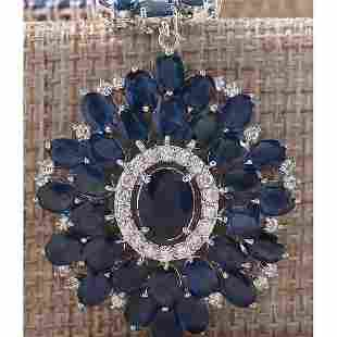 57.19CTW Natural Blue Sapphire And Diamond Necklace In