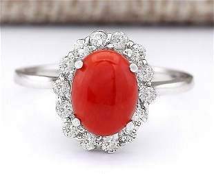 1.95 CTW Natural Coral And Diamond Ring In 18K White
