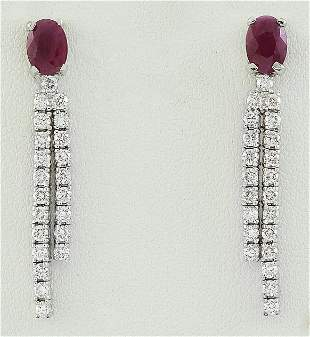 2.55 CTW Ruby 14K White Gold Diamond Earrings