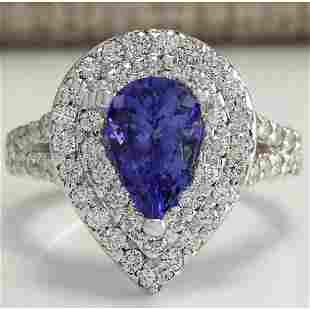 3.53 CTW Natural Tanzanite Diamond Ring 14K Solid White