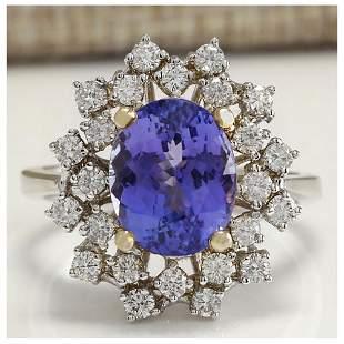 5.20 CTW Natural Tanzanite Diamond Ring 18K Solid White