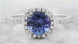 2.01 CTW Tanzanite 14K White Gold Diamond Ring