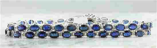 28.22 CTW Sapphire 18K White Gold Diamond Bracelet