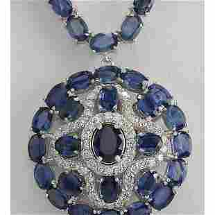 57.24 CTW Natural Blue Sapphire And Diamond Necklace In