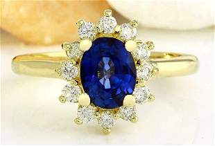 2.30 CTW Natural Sapphire 18K Solid Yellow Gold Diamond