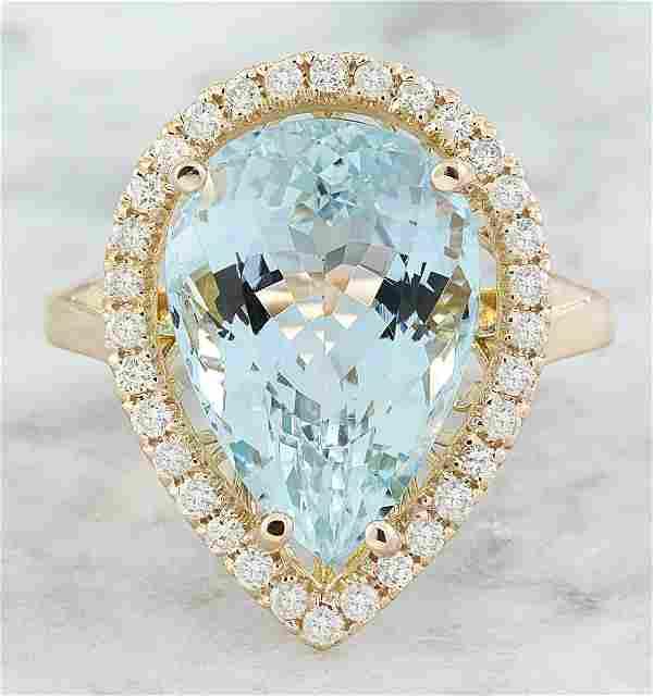 9.23 CTW Aquamarine 14K Rose Gold Diamond Ring