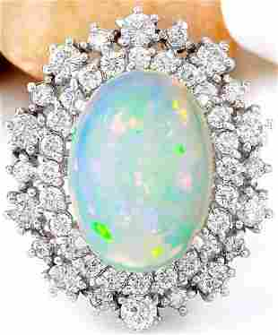 4.20 CTW Natural Opal 18K Solid White Gold Diamond Ring