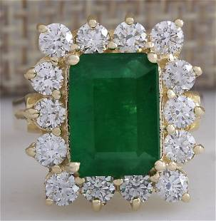 4.91 CTW Natural Emerald And Diamond Ring 18K Solid