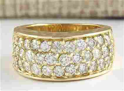 1.85 CTW Natural Diamond Ring 18K Solid Yellow Gold