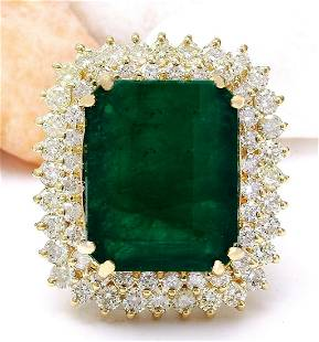 20.77 CTW Natural Emerald 14K Solid Yellow Gold Diamond