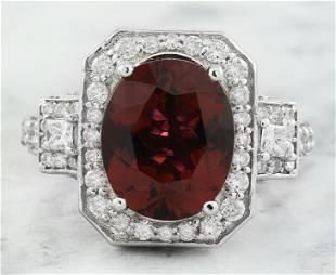 6.00 CTW Tourmaline 14k White Gold Diamond Ring