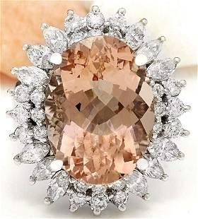 14.61 CTW Natural Morganite 14K Solid White Gold