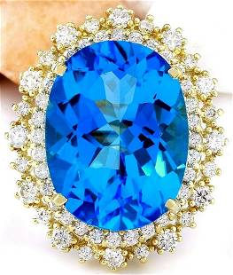 18.42 CTW Natural Topaz 14K Solid Yellow Gold Diamond