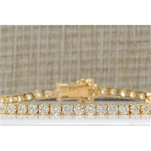 6.65CTW Natural Diamond Bracelet In 14K Solid Yellow