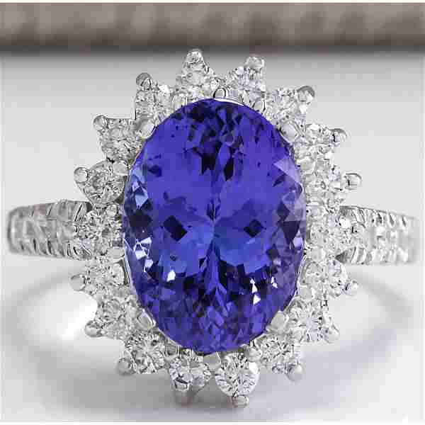 5.08 CTW Natural Blue Tanzanite And Diamond Ring In 18K