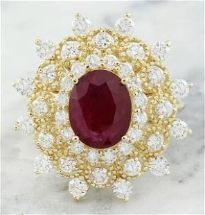 3.96 CTW Ruby 14K Yellow Gold Diamond Ring