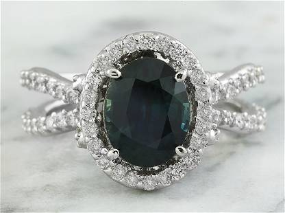 3.49 CTW Sapphire 14K White Gold Diamond Ring