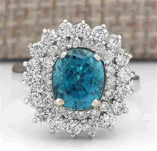 6.24 CTW Natural Blue Zircon And Diamond Ring 14k Solid