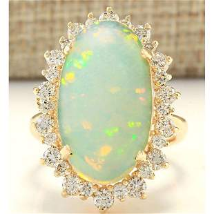 8.29 CTW Natural Opal And Diamond Ring In 14k Yellow